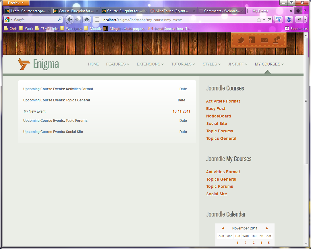 Moodle Events By Course