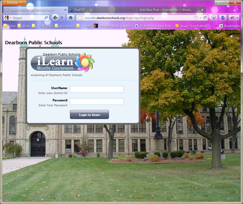 alternate moodle login page template web administrator